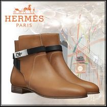 HERMES Open Toe Bi-color Plain Leather Block Heels Elegant Style