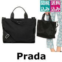 PRADA Casual Style A4 Plain Shoulder Bags