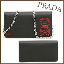PRADA SAFFIANO VERNICE Unisex Saffiano Bag in Bag Chain Other Animal Patterns