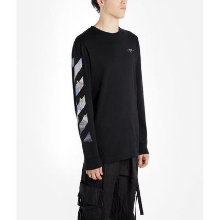 Off-White Long Sleeve Crew Neck Pullovers Stripes Street Style Long Sleeves Cotton 10