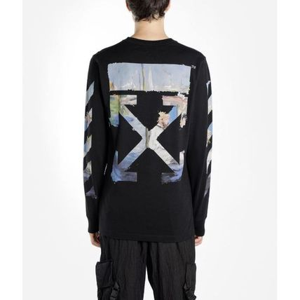 Off-White Long Sleeve Crew Neck Pullovers Stripes Street Style Long Sleeves Cotton 11