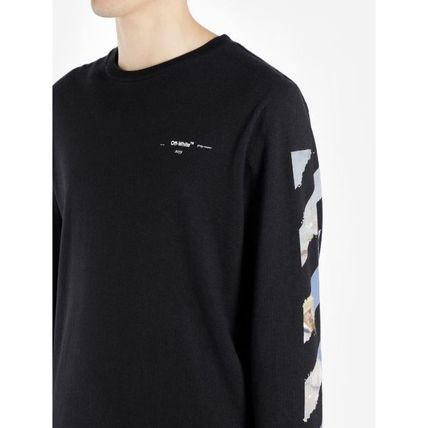 Off-White Long Sleeve Crew Neck Pullovers Stripes Street Style Long Sleeves Cotton 12
