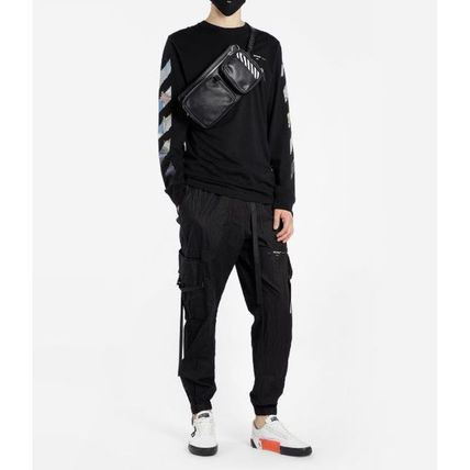 Off-White Long Sleeve Crew Neck Pullovers Stripes Street Style Long Sleeves Cotton 13