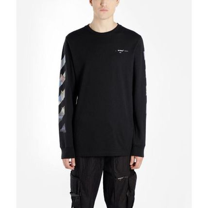 Off-White Long Sleeve Crew Neck Pullovers Stripes Street Style Long Sleeves Cotton 14