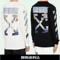 Off-White Crew Neck Pullovers Stripes Street Style Long Sleeves Cotton