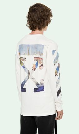 Off-White Long Sleeve Crew Neck Pullovers Stripes Street Style Long Sleeves Cotton 4