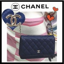 CHANEL CHAIN WALLET Casual Style Calfskin 2WAY Chain Plain Crossbody