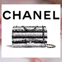 CHANEL Stripes Chain Elegant Style Shoulder Bags