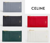 CELINE Plain Leather Handmade Folding Wallets