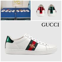 GUCCI Ace Casual Style Leather Low-Top Sneakers