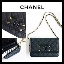 CHANEL CHAIN WALLET 2WAY Leather Shoulder Bags