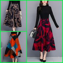 Flared Skirts Flower Patterns Medium Midi Elegant Style