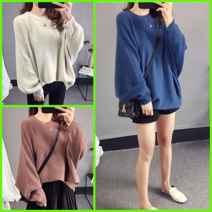 More Knitwear Cable Knit Casual Style U-Neck Long Sleeves Plain Medium
