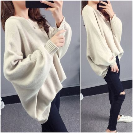 More Knitwear Cable Knit Casual Style U-Neck Long Sleeves Plain Medium 2