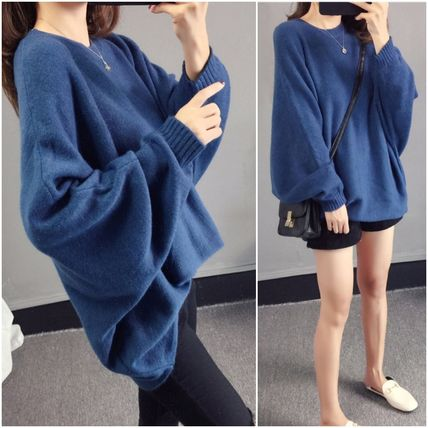 More Knitwear Cable Knit Casual Style U-Neck Long Sleeves Plain Medium 3