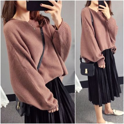 More Knitwear Cable Knit Casual Style U-Neck Long Sleeves Plain Medium 4