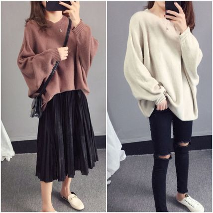More Knitwear Cable Knit Casual Style U-Neck Long Sleeves Plain Medium 5