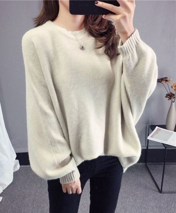 More Knitwear Cable Knit Casual Style U-Neck Long Sleeves Plain Medium 6