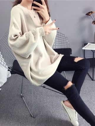 More Knitwear Cable Knit Casual Style U-Neck Long Sleeves Plain Medium 7