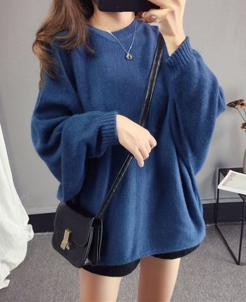 More Knitwear Cable Knit Casual Style U-Neck Long Sleeves Plain Medium 8