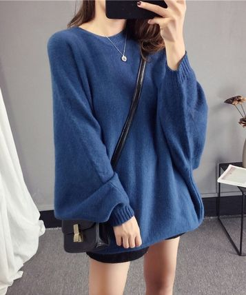 More Knitwear Cable Knit Casual Style U-Neck Long Sleeves Plain Medium 10