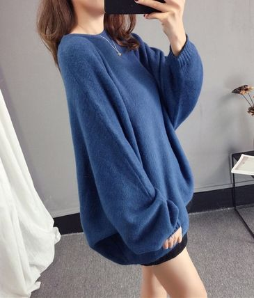 More Knitwear Cable Knit Casual Style U-Neck Long Sleeves Plain Medium 11