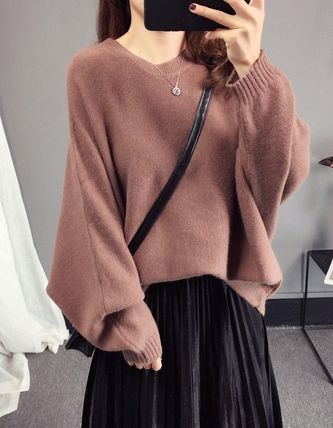 More Knitwear Cable Knit Casual Style U-Neck Long Sleeves Plain Medium 12