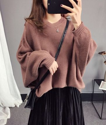 More Knitwear Cable Knit Casual Style U-Neck Long Sleeves Plain Medium 13