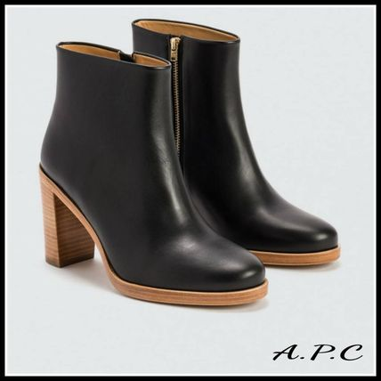 Plain Leather Elegant Style Ankle & Booties Boots