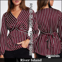River Island Stripes Casual Style V-Neck Long Sleeves Medium