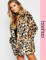 boohoo Leopard Patterns Faux Fur Cashmere & Fur Coats