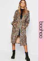 boohoo Leopard Patterns Faux Fur Long Cashmere & Fur Coats