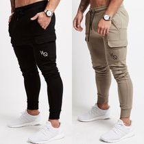 VANQUISH FITNESS Tapered Pants Street Style Plain Cotton Khaki Tapered Pants