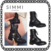 SIMMI Lace-up Casual Style Suede Street Style Block Heels