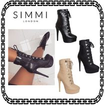 SIMMI Lace-up Casual Style Street Style Pin Heels Lace-up Boots