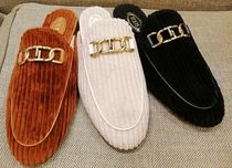 TOD'S Plain Toe Casual Style Velvet Plain Slippers Sandals
