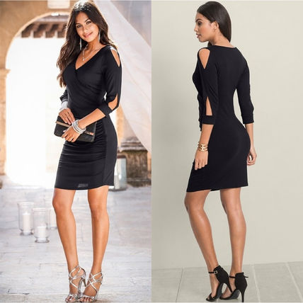 Short Tight V-Neck Cropped Plain Party Style Dresses