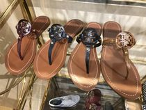 Tory Burch Open Toe Casual Style Plain Leather Espadrille Shoes