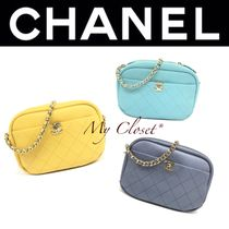 CHANEL MATELASSE Street Style 2WAY Plain Leather Oversized Elegant Style