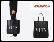 VALENTINO Street Style Plain Leather Totes