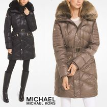 Michael Kors Faux Fur Plain Medium Down Jackets
