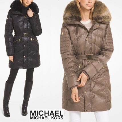 Faux Fur Plain Medium Down Jackets