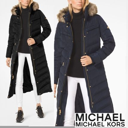 Michael Kors Down Jackets Faux Fur Plain Long Down Jackets