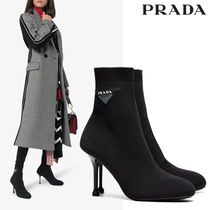 PRADA Plain Leather Pin Heels Elegant Style High Heel Boots
