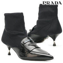 PRADA Plain Leather Pin Heels Elegant Style Ankle & Booties Boots