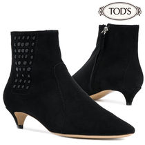 TOD'S Suede Plain Pin Heels Elegant Style Ankle & Booties Boots