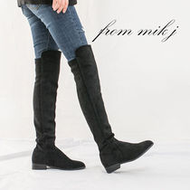 Suede Street Style Plain Over-the-Knee Boots