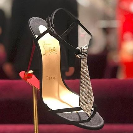 5b1094a89a47 ... Christian Louboutin Heeled Open Toe Blended Fabrics Plain Pin Heels  With Jewels ...