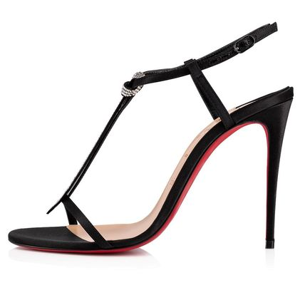 745bb4422313 Christian Louboutin Heeled Open Toe Blended Fabrics Plain Pin Heels With  Jewels 6 ...