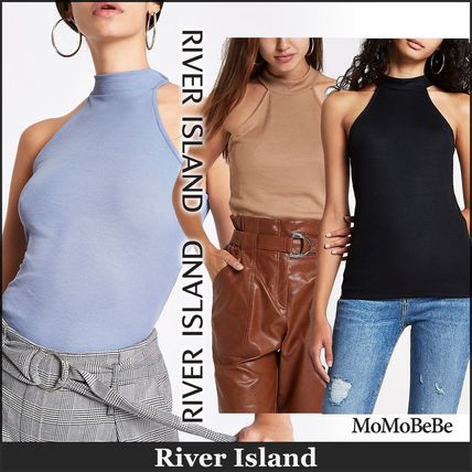 Rib Plain Medium High-Neck Tanks & Camisoles
